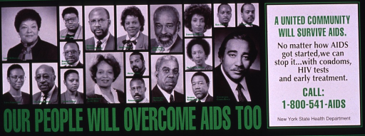 <p>Predominantly black poster with green and black lettering.  Visual images are b&amp;w photo reproductions featuring prominent African Americans from New York.  Title below photos.  Caption and publisher information on right side of poster.</p>