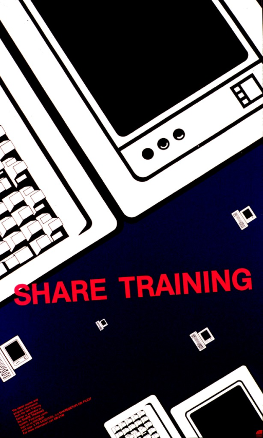 <p>An angled portion of a computer terminal and keyboard cover most of the top two-thirds of the poster.  The title is printed across the poster with several terminals and keyboards of varying sizes floating across the blue background.  Information for signing onto the system along with a phone number for help is given.</p>