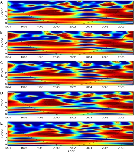 Wavelet coherence analyses of dengue incidence with ENSO indices.(A) MEI, (B) NIÑO 1+2, (C) NIÑO 3, (D) NIÑO 4 and (E) NIÑO 3.4. Blue, low coherence; red, high coherence. The dotted lines show α = 5% and 10% significance levels. The cone of influence (black curve) indicates the region not influenced by edge effects.