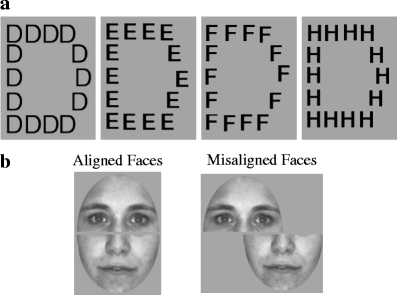 Examples of a Navon letters used in the present study and b aligned and misaligned composite faces used in the present study