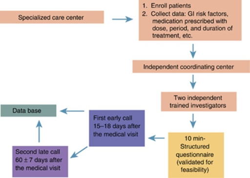 Study flow. Investigators collected consecutive patients who met inclusion and exclusion criteria and who agreed to participate in the study. After data collection, the anonymized information was sent to the coordinating center. Patients were followed up with telephone calls at two different times and the follow-up information was added to the database. GI, gastrointestinal.