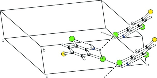 The partial packing (PLATON; Spek, 2009), which shows that molecules form C(2) chains extending along [0 1 0] direction.