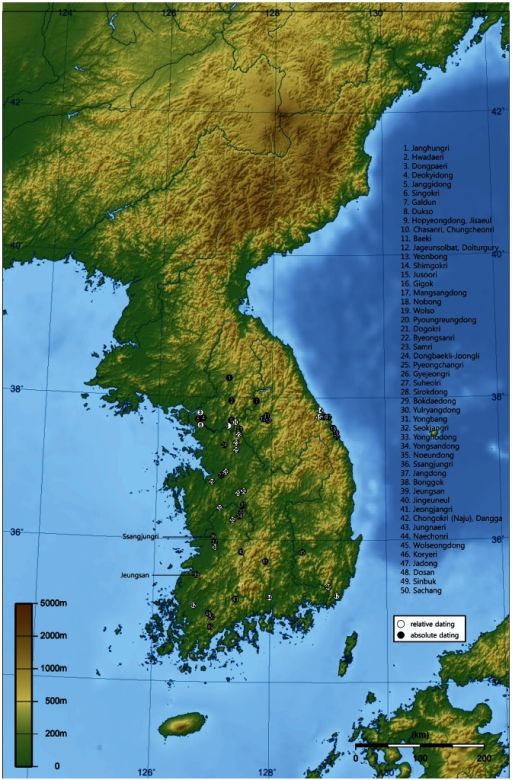 Locations Of South Korean Paleolithic Sites Mentioned In The Text Note The Sites Had