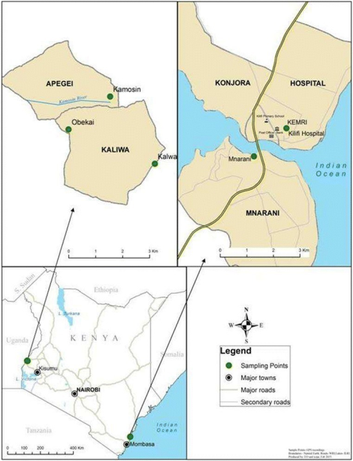 The study sites; Kilifi district in the coast and Busia district in western Kenya.