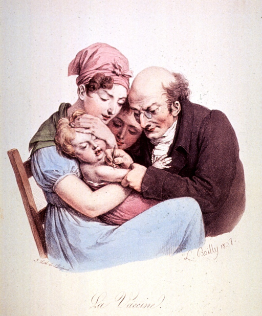 <p>A physician is inoculating a young child held in the arms of its mother.</p>