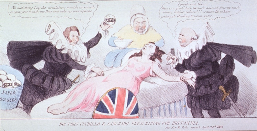 <p>Caricature:  A woman lying on a bed is receiving treatments, on the one hand, to increase her blood supply, and on the other, to decrease her blood supply.  She is being attended to by two physicians with opposite views and a nurse.</p>
