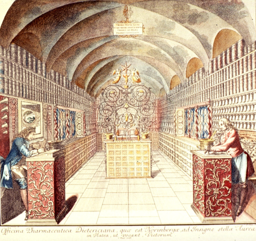 <p>Interior view of a pharmacy in Nurenberg.</p>