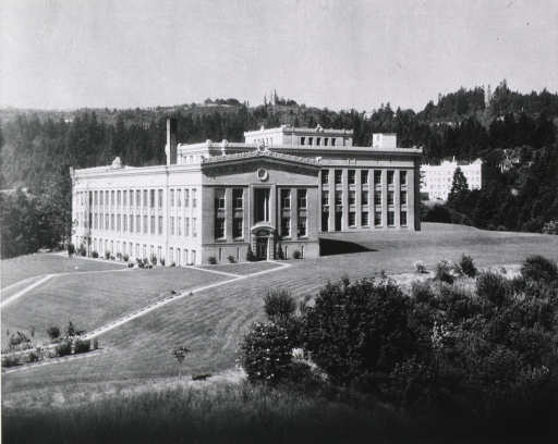 <p>Panoramic view showing the exteriors of the first two units of the University of Oregon's Medical School ca.1918-1921.</p>