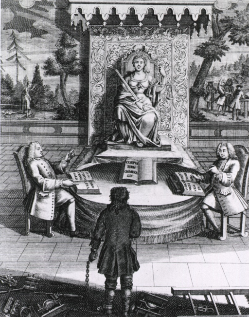 <p>A criminal in chains stands before Justice, seated on a throne, and two gentlemen consulting law books beneath her.</p>