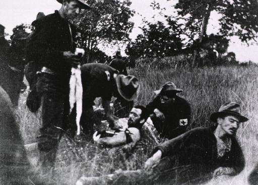 <p>Surgeon attending to the wounded in the field hospital (Battle of El Caney, Cuba, Jul. 1, 1898).</p>