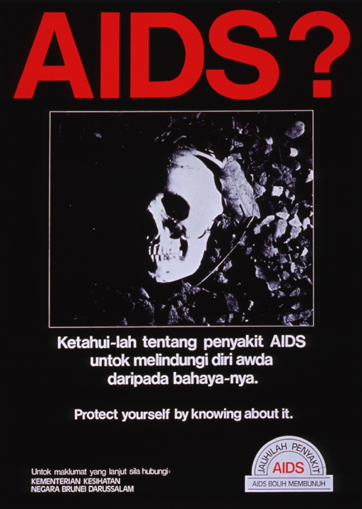 <p>Black poster with multicolor lettering.  Title at top of poster.  Dominant visual image is a reproduction of a b&amp;w photo of a skull lying on the ground among leaves.  Lengthy caption in Malay and some English below photo.  Logo in lower right corner.  Publisher information in lower left corner.</p>
