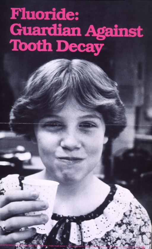 <p>Black and white poster with neon pink lettering.  Title at top of poster.  Visual image is a reproduction of a b&amp;w photo of a girl holding a paper cup.  Given the position of her mouth, it appears that the girl may have a mouth full of liquid.  Publisher information at bottom of poster.</p>