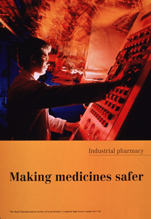 <p>Predominantly orange poster with black lettering.  Visual image is a color photo reproduction featuring a man working at what appears to be a control board in a factory setting.  Title and publisher information below photo.</p>