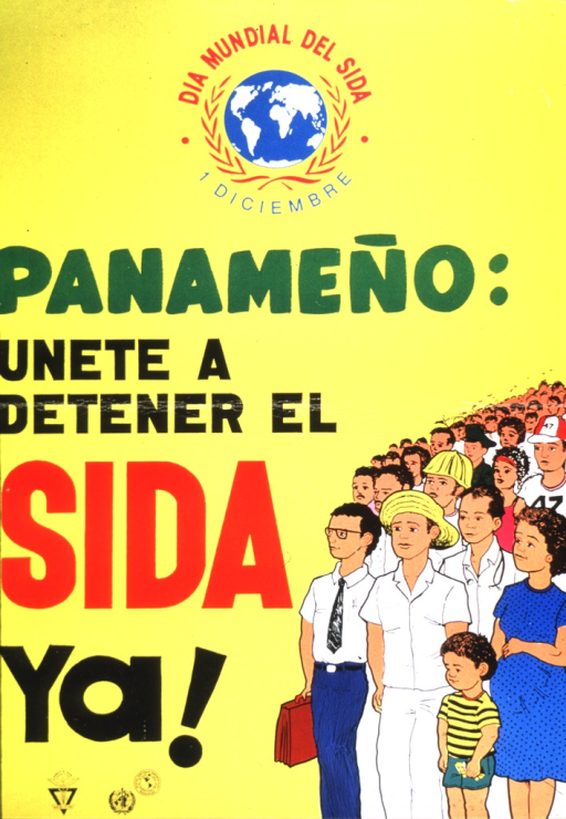 <p>A globe with the caption surrounding it is at the top of the poster.  The rest of the text is down the left side of the poster with Panamanians representing various age groups and professions on the right side of the poster.  Several government logos are seen at the bottom of the poster on the left side.</p>