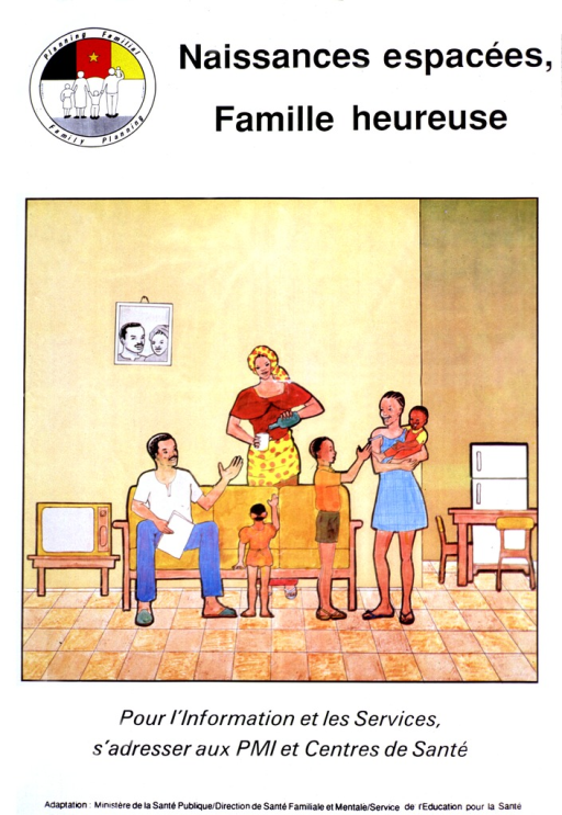 <p>White poster with black lettering.  Title at top of poster along with a family planning logo.  Visual image is a color illustration of a family in its living room.  The mother stands and pours a drink for a young child.  The father sits on the couch.  A school-age boy and teenage girl stand nearby.  The girl holds an infant.  Caption below illustration.  Publisher information at bottom of poster.</p>
