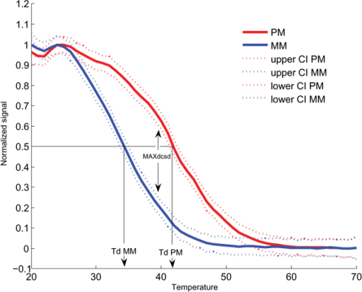 Mean melting profiles of perfect-match and mismatch probes using Alexa 594-labeled rRNA from Streptococcus mutans of six replicates in three experiments. Perfect-match (PM) probe and mismatch (MM) probe have Td (50% of signal remaining during analysis) values of 41.7°C and 34.0°C, respectively. The 95% confidence intervals are shown as dashed lines and MAXDCSD is 0.36 and occurs at 40°C. All values were calculated using fANOVA, see text for details (Bugli, submitted).