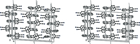 Stereoview of the ladders formed by C—H···π interactions (dashed lines). Hydrogen atoms not involved in the motifs are not included.