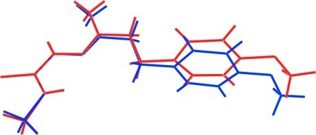 An overlay diagram of two independent molecules in (I). The S1-containing molecule is illustrated in red and the S2-molecule in blue. Molecules have been aligned so that the N1,S1,N2 and N4,S2,N5 planes are overlapped.