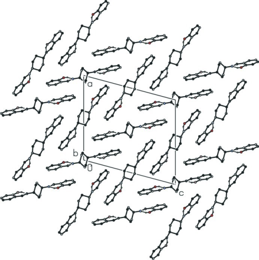 The crystal packing of the title compound, viewing along the b axis.