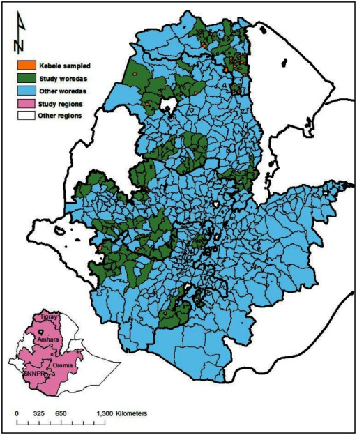 Map of Ethiopia showing the study areas and location of primary sampling units (i.e., kebeles).