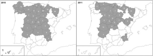 Distribution of the hive debris samples received in 2010 and 2011. Samples were grouped according to the region of origin for analysis.