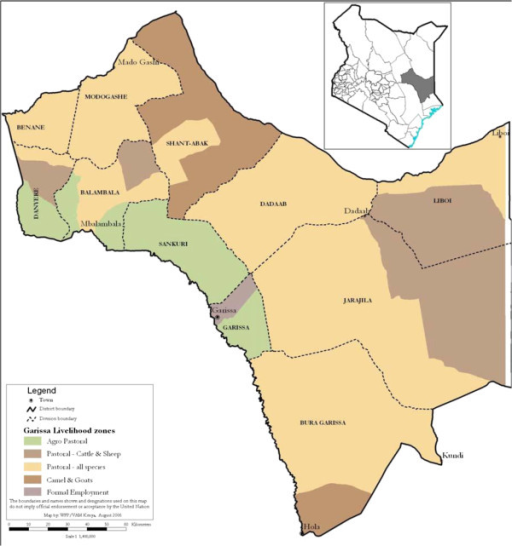 Map of the study area. A map of the study area of Greater Garissa, North Eastern Province, Kenya [30].
