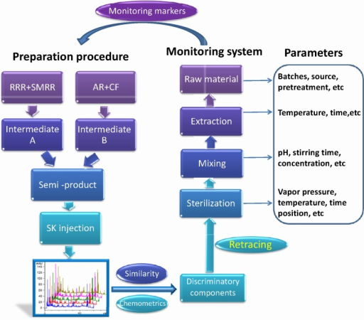 Workflow of the proposed strategy for monitoring the preparation parameters.RRR, SMRR, AR, and CF are Radix et Rhizoma Rhei, Radix et Rhizoma Salviae Miltiorrhizae, Radix Astragali, and Flos Carthami, respectively.