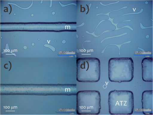 Optical microscopy images of the microchips without (a,b) and with (c,d) ATZs. m, microchannel and v, voids and air bubbles.