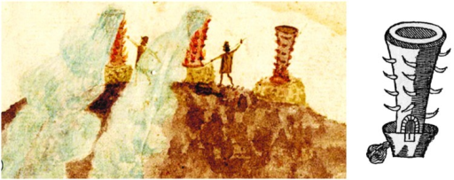 Colonial drawings of silver-smelting furnaces (huayras) in the Bolivian Andes.Left: Watercolor painting from the late 16th century showing three huayras with flames emerging from the orifices in the walls; two huayras smoke and are tended by individuals in indigenous ponchos and Spanish-style hats, from the Atlas of Sea Charts, courtesy of The Hispanic Society of America, New York. Right: After Barba 1640. [from (56)]