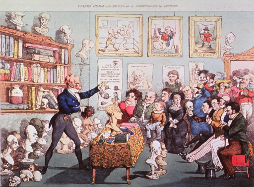 <p>Caricature:  A phrenologist (George Combe?) surrounded by books, busts, and prints, lectures to a rapt audience.</p>