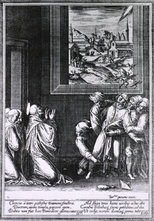 <p>A possessed cleric is being held by several men as St. Benoit kneels before him driving away the evil spirits. A view through a window repeats this scene before the entrances to several churches.</p>