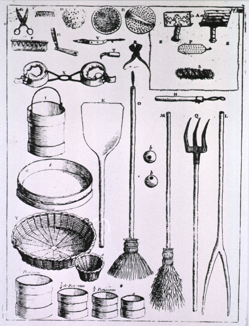 <p>Equipment used in stable management (grain measures, hobbles, paring knives, curry combs...).</p>