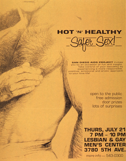 <p>Gold poster with black lettering announcing an event to teach safer sex.  Also lists date, time, location, and free admission.  All text on right side of poster.  Title near top.  Caption below title.  Left side of poster features an illustration of a man's naked torso.</p>