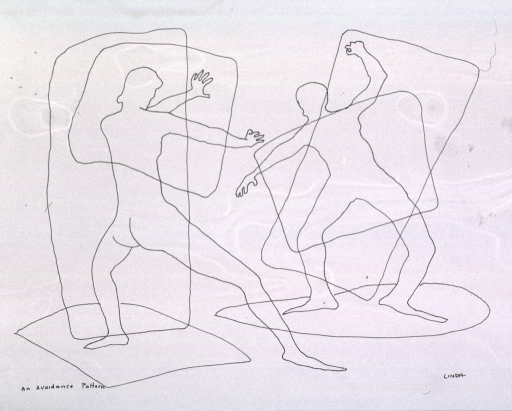 <p>Two human figures posturing to repulse each other; one figure is in an aggressive or threatening stance, the other is in a defensive position.</p>