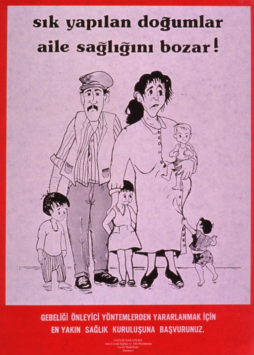 <p>Red and white poster with black and white lettering.  Title at top of poster deals with frequent pregnancies and the mother becoming haggard.  Visual image is an illustration of a six-member family.  The mother is pregnant and looks very tired.  Additional text and publisher information at bottom of poster.</p>