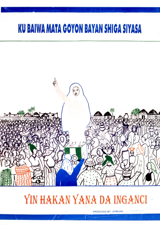 <p>Predominantly white poster with blue and red lettering.  Title at top of poster.  Visual image is an illustration of a woman addressing a crowd of people.  Caption below illustration deals with the idea of development.  Publisher information at bottom of poster.</p>
