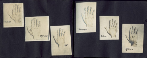 <p>Image of six types of hands. Chirognomic hand types: square [or useful], spatulate [or active], mixed, philosophic, psychic, and artistic [or emotional].</p>