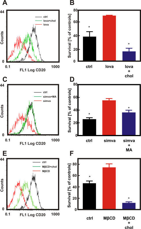 Cholesterol Is Necessary for CD20 Binding and Rituximab-Mediated CDCRaji cells were incubated with either diluent or lovastatin (10 μM for 48 h [A and B]), simvastatin (10 μM for 48 h [C and D]) or MβCD (5 mg/ml for 30 min [E and F]). Water-soluble cholesterol (chol; 0.2 mg/ml) was added for 2 h prior to flow cytometry analysis (A, E) or addition of 10 μg/ml rituximab and 10% human AB serum (B and F). Mevalonic acid (MA) was added together with simvastatin at a 200 μM concentration (C and D). Then for flow cytometry studies (A, C, and E), 1 × 106/ml of cells were incubated with saturating amounts of FITC-conjugated anti-CD20 mAb (B9E9) or IgG1 (isotype control) for 30 min at room temperature in the dark. Cell viability was measured in a MTT assay (B, D, and F). The survival of cells is presented as percentage of corresponding diluent- or statin-pretreated cells without rituximab. *p < 0.001 (two-way Student's t-test) as compared to statin-treated (B and D) or MβCD-treated (F) cells.