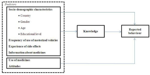 Theoretical model to determine predictors for patient knowledge and reported behavior.