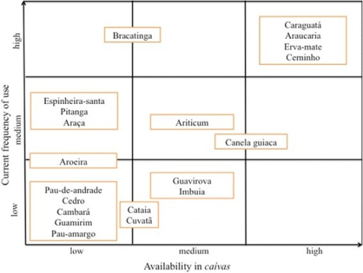 Nine-cell analysis demonstrating the distribution of twenty native species recognized as priority within caívas. Analysis was conducted according to availability and current use frequency of 28 family units from the northern plateau of Santa Catarina, Brazil