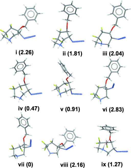 Nine conformations of compound (1) found by computational analysis. The number in parenthesis is the relative energy in kcal mol−1.