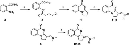 General Route to Core 2,3-Dihydropyrrolo[1,2-a]quinazolin-5(1H)-ones and Their DerivativesReagents and conditions: (a)4-chlorobutanoyl chloride, Et3N, THF, 0 °C to rt,12 h, 92%; (b) tBuOK, THF, rt, 1 h, 77%;(c) N,N-dialkylformamide, POCl3, CH2Cl2, 70 °C, 16–74%;(d) H-NR2, DMAP, EtOH, 70 °C, 24–96 h, 39–81%.For R see Table 1.