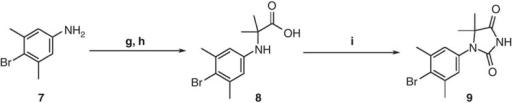 Synthesis of compound 9.Reagents and conditions: (g) 2-bromoisobutyric acid, DIPEA, DMI, 100 °C; (h) 5 mol l−1 NaOH aq., MeOH, 75 °C; (i) NaOCN, AcOH, CH2Cl2, room temperature.