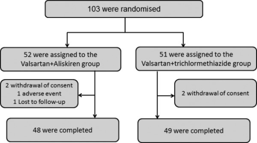 Patient distribution. A total of 103 participants were randomised into the V+A and V+T groups, but the data of 97 were subject to final analysis (48 in the V+A group and 49 in the V+T group). V+A, valsartan with aliskiren; V+T, valsartan with trichlormethiazide.