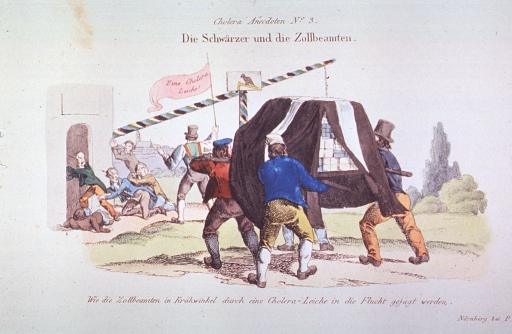 <p>Four men transporting packages on a stretcher; they appear to be following a man carrying a banner which reads, Eine Cholera Leiche!, and are approaching a building; at the entrance to the building people scramble to get away from the approaching group.</p>