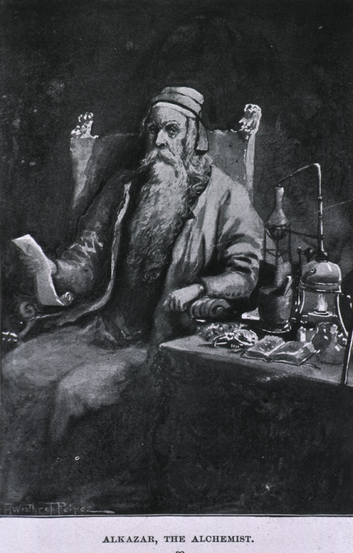 <p>Seated in laboratory with instruments.</p>