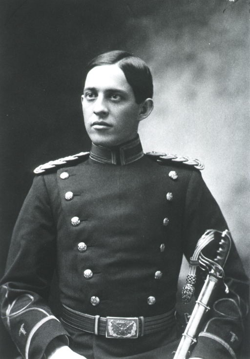 <p>Half-length, front pose, full face; wearing uniform, holding sword; at age 29.</p>