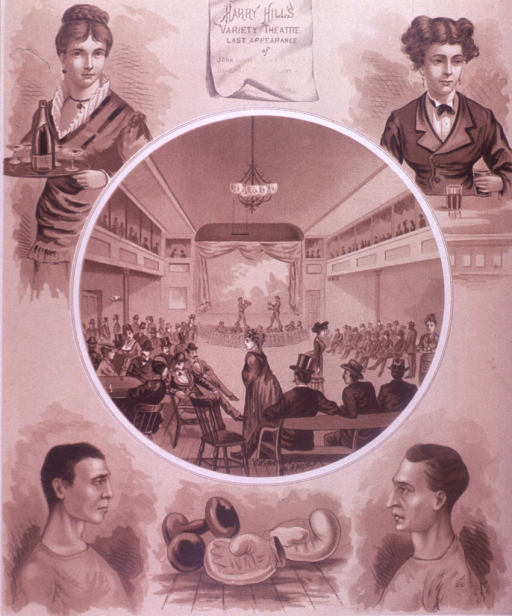 <p>A variety of scenes from Harry Hills Variety Theatre include people boxing on a stage, a trapeze hanging from the ceiling, a set of hand weights, boxing gloves, and a woman carrying a tray.  On the verso is an advertisement for Duryea's Glen Cove Starch Manufacturing Co.</p>