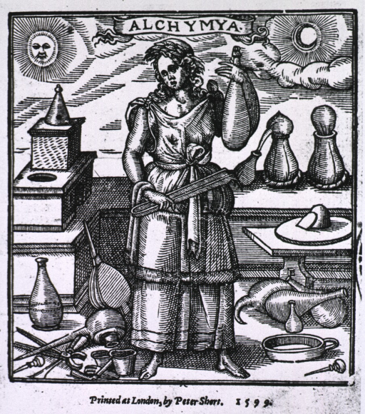 <p>A woman is standing among various chemical apparatus, she is holding a pair of tongs and a glass container; a furnace is to the left.</p>