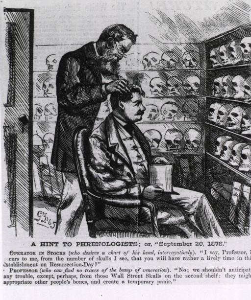 <p>A hint to phrenologists; or &quot;September 20, 1878&quot; [cartoon on phrenology and Wall St. panics].</p>